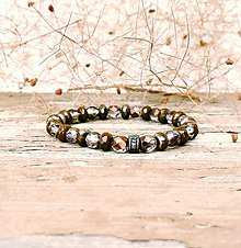 Náramky - Náramok hnedý sklenený - 13578580_