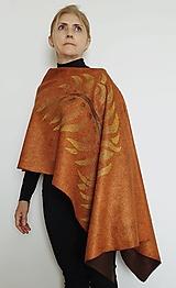 Topy - Poncho maringold - čokoládové s palmovým listom - 13576831_
