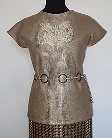 Topy - Hnedý top s ornamentom - 13576801_