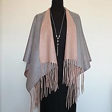 Topy - Poncho / pelerína šedo ružové plstené - 13576867_