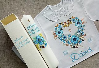 Detské oblečenie - Set do krstu- Modré maky s černicami - 13582431_