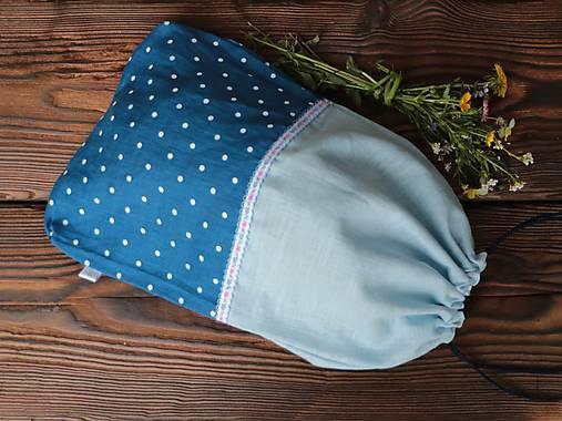 Ľanové vrecko na chlieb modrá bodka