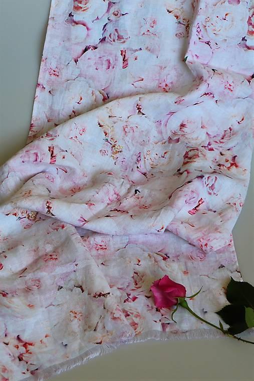 Ľanový šál pastelové ruže