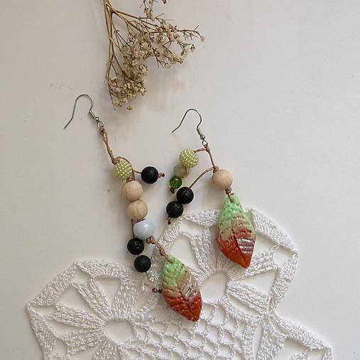 Skoro jesenné/Lávový kameň a drevené korálky/náušnice