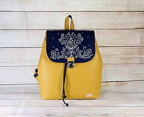 Modrotlačový batoh Matej žltý AM 1