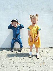Detské oblečenie - Macko šaty - ľanové (Žltá) - 13581988_