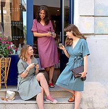 Šaty - Ľanové zavinovacie šaty - 13582180_