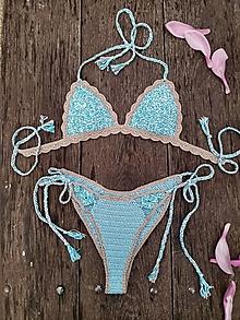 Bielizeň/Plavky - Háčkované plavky Afrodita Blue - 13580098_