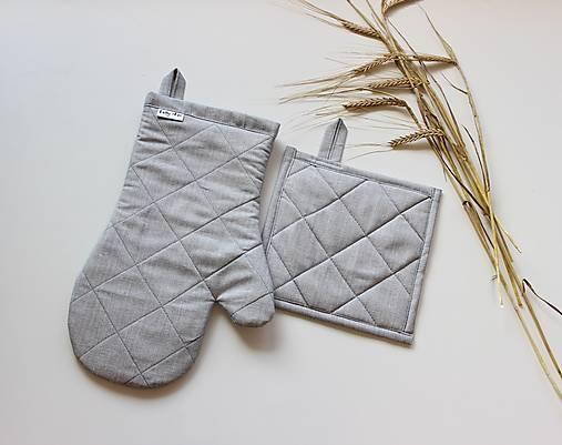 set rukavica+chňapka sivá