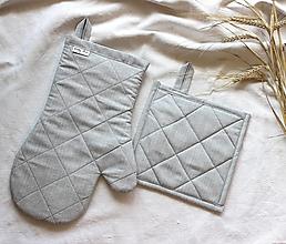 Úžitkový textil - set rukavica+chňapka sivá - 13583571_