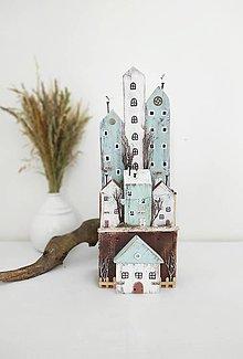 Dekorácie - Vintage domčeky ,, Zázračná dedinka,, - 13585611_
