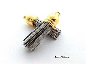 Komponenty - Strapcový prívesok 38 mm - šedý - 13583592_