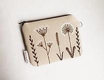 Peňaženky - Peňaženka mini maľovaná - Natur (ľan) - 13585006_
