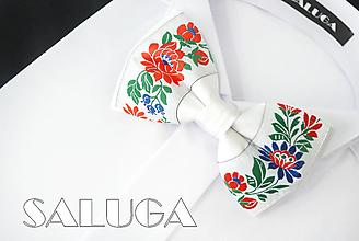 Doplnky - Pánsky folklórny motýlik - biely - ľudový - 13585446_