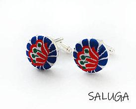 Šperky - Manžetové gombíky - folklórne - modré - folk - 13585467_