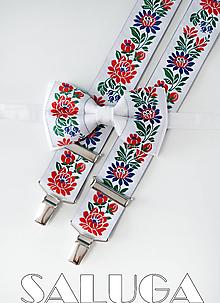 Doplnky - Folklórny pánsky biely motýlik a traky - folkový - ľudový - 13585486_