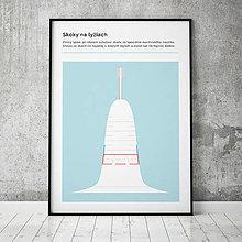 Grafika - SKOKY NA LYŽIACH, minimalistický print - 13585794_