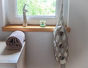 Košíky - Makramé závesný zásobník na toaletný papier béžový - 13584988_