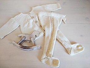 Detské oblečenie - Smotanové pančušky 100% Baby merino - 13583188_