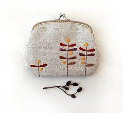Peňaženky - Peňaženka XL Lístky v hnedých tónoch (s kapsičkou) - 13583824_