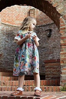 Detské oblečenie - Macko šaty - ľanové (Pestrofarebná) - 13583578_