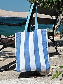 Nákupné tašky - Taška pásikovaná ľan/bavlna - 13586633_