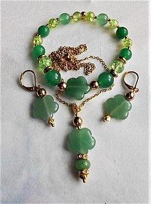 Sady šperkov - Zelený aventurín - 13587681_