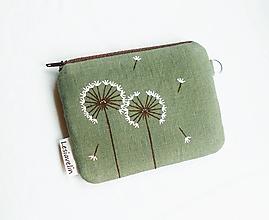 Peňaženky - Peňaženka mini maľovaná - Púpavky (ľan) - 13586946_