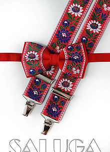 Doplnky - Folklórny pánsky červený motýlik a traky - folkový - ľudový - 13586819_