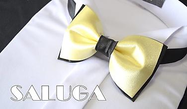 Doplnky - Pánsky žlto čierny motýlik - 13586841_