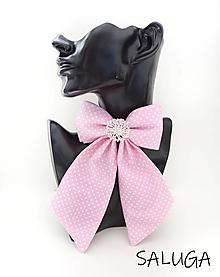 Odznaky/Brošne - Dámsky motýlik - luxusný - ružový - bodkovaný - brošňa - 13586889_