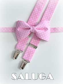 Doplnky - Pánsky svetlý ružový motýlik na biele bodky + traky bodkované - set - 13586959_