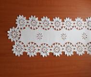 Úžitkový textil - Richellieu - Kvety- biela,  90 x 34 cm - 10461230_