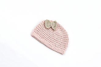 Detské čiapky - Ružovo-béžová letná čiapka EXTRA FINE - 13587570_