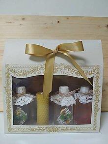 Potraviny - Darčekové balenie bylinkových sirupov a voskovej sviečky - 13588987_