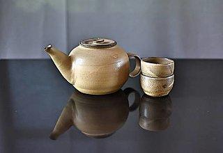 Nádoby - Čajník z kameniny s dvomi miskami - 13587095_