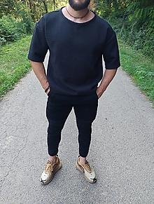 Tričká - Vaflové pánske tričko čierne - 13587305_