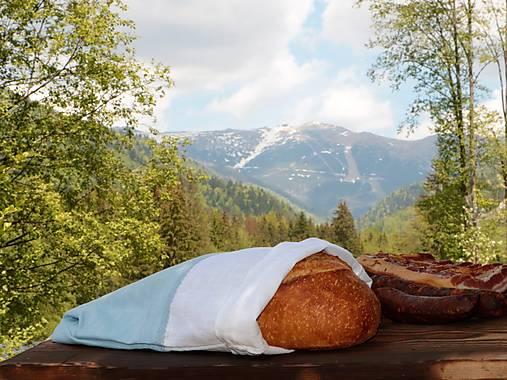 Ľanové vrecko na chlieb bielo modré