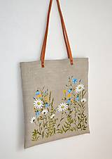 Veľké tašky - Ľanová taška-ručne maľovaná-Na lúke - 13589519_