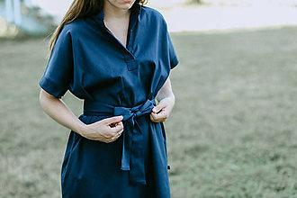 Šaty - Šaty Dark Blue Shirts LONG - 13589415_