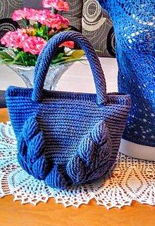 Kabelky - Háčkovaná kabelka modrá - 13591314_