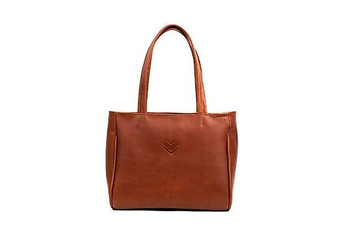 Veľké tašky - Kožená taška BIG SHOPPER B2 - oranžová - 13591947_