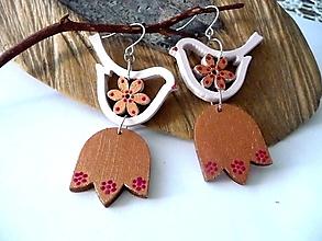 Náušnice - vtáčiky spievankové  zlato-ružové - 13590197_