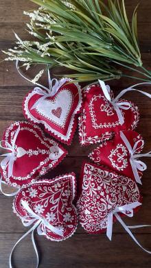Darčeky pre svadobčanov - Voňavé  srdiečka  červené -  ivory -10 cm - 13590187_