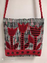 Kabelky - Ručne tkana taška červené tulipány - 13593118_