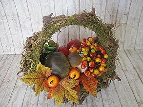 Dekorácie - Jesenný machový košíček - 13592351_