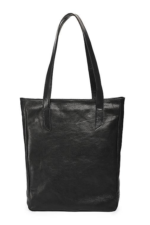 Veľké tašky - Kožená taška SHOPPER 26 - černá - 13592223_