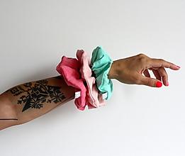 Ozdoby do vlasov - Ľanové scrunchies Ružové recyklované - 13593866_