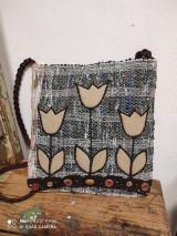 Kabelky - Tkana taška hnedé tulipány - 13594540_