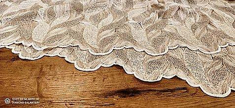 Textil - Krajková látka -Lístky - cena za 10 cm - 13594633_